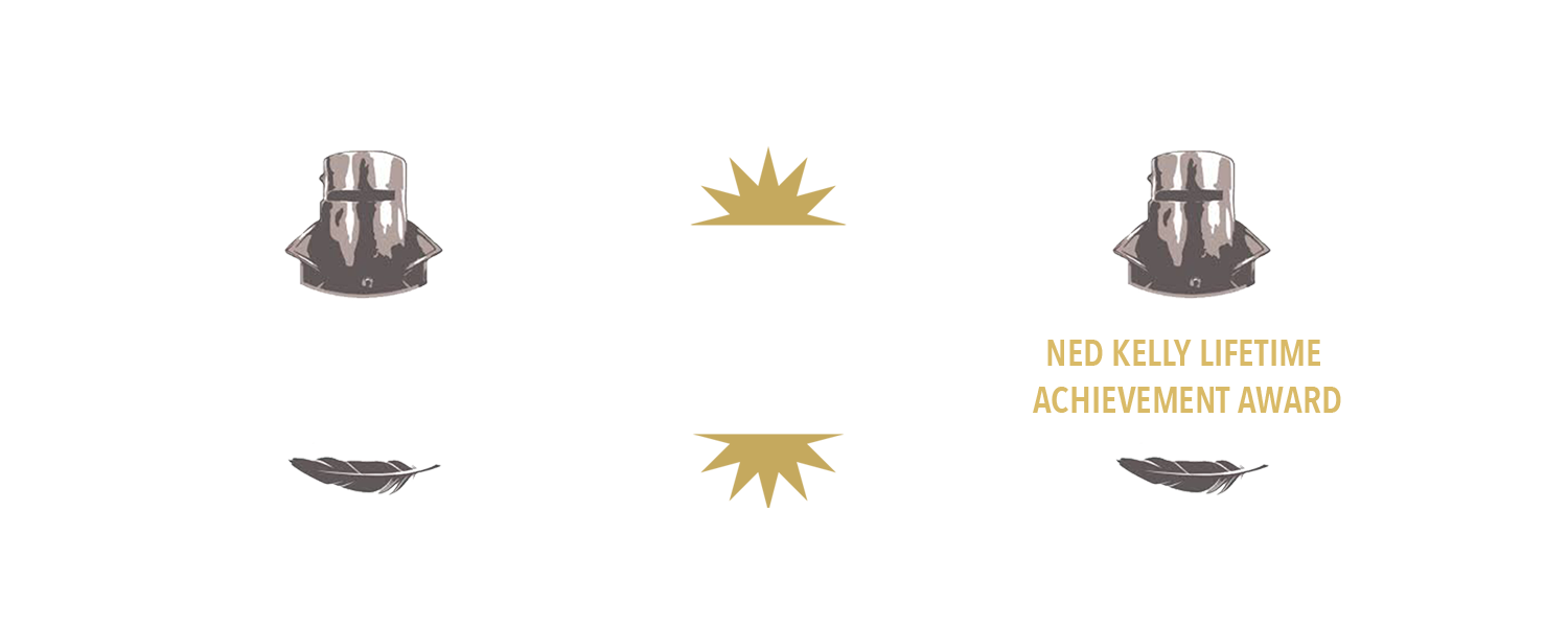 Info Graphic: 1. Three Time Winner Ned Kelly Award. 2. Three Time Winner of the German Crime Prize. 3. Ned Kelly Lifetime Achievement Award
